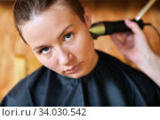 Купить «Women's haircut at home», фото № 34030542, снято 13 июня 2020 г. (c) Знаменский Олег / Фотобанк Лори
