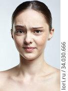 Купить «Headshot of emotional female face portrait with displeasure facial expression.», фото № 34030666, снято 8 мая 2020 г. (c) Serg Zastavkin / Фотобанк Лори