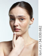 Купить «Headshot of emotional female face portrait with unhappy misunderstanding facial expression.», фото № 34030682, снято 8 мая 2020 г. (c) Serg Zastavkin / Фотобанк Лори