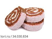 Купить «Slices of sweet roll cake isolated on white background», фото № 34030834, снято 18 января 2016 г. (c) Nataliia Zhekova / Фотобанк Лори