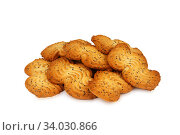 Купить «shortbread cookies with poppy seeds isolated on white background», фото № 34030866, снято 4 февраля 2016 г. (c) Nataliia Zhekova / Фотобанк Лори