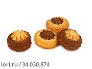 Купить «shortbread cookies isolated on white background», фото № 34030874, снято 4 февраля 2016 г. (c) Nataliia Zhekova / Фотобанк Лори