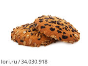Oatmeal cookies with Chocolate chips and sunflower seeds isolated on white. Стоковое фото, фотограф Nataliia Zhekova / Фотобанк Лори