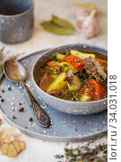 shurpa - oriental soup with vegetables and lamb. Стоковое фото, фотограф Nataliia Zhekova / Фотобанк Лори