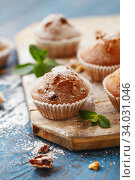 Купить «Sweet muffins. Homemade bakery on wooden background. Berry muffins», фото № 34031046, снято 22 марта 2019 г. (c) Nataliia Zhekova / Фотобанк Лори