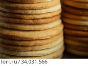 Biscuit with Danish style butter cookies and honey flavored. A stack of crunchy delicious sweet meal and useful cracker. Стоковое фото, фотограф Nataliia Zhekova / Фотобанк Лори