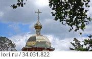 Купол православной церкви на фоне неба и деревьев летом. Стоковое видео, видеограф Сергей Флоренцев / Фотобанк Лори