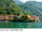 Landscape with lake and mediterranean buildings, lake Como, Varenna (2019 год). Стоковое фото, фотограф Яков Филимонов / Фотобанк Лори