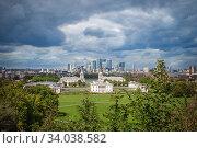 London City skyline from Greenwich Observatory. (2017 год). Стоковое фото, фотограф Nataliia Zhekova / Фотобанк Лори
