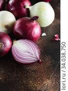 Купить «red onions. Red onion halves. Food Ingredients», фото № 34038750, снято 29 июля 2019 г. (c) Nataliia Zhekova / Фотобанк Лори