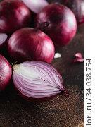 Купить «red onions. Red onion halves. Food Ingredients», фото № 34038754, снято 29 июля 2019 г. (c) Nataliia Zhekova / Фотобанк Лори