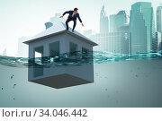 Купить «Mortgage repayment failure concept with man», фото № 34046442, снято 10 июля 2020 г. (c) Elnur / Фотобанк Лори