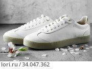 Купить «White plimsolls made of tumbled leather, matching laces, fabric lining and lightweight platform soles», фото № 34047362, снято 10 апреля 2019 г. (c) Nataliia Zhekova / Фотобанк Лори