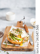 Poached egg with avocado, ricotta cheese and radish sprouts on burger bun. Healthy sandwich with bread, fresh avocado, poached egg and cheese garnished with radish microgreens. Стоковое фото, фотограф Nataliia Zhekova / Фотобанк Лори