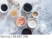 Купить «Mix of different salt types on grey concrete background. Sea salts, black and pink Himalayan salt crystals, powder. collection of different types of salt. Top view flat lay. Different Sea salts», фото № 34047706, снято 11 февраля 2020 г. (c) Nataliia Zhekova / Фотобанк Лори