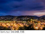 Купить «Краснодарский край, Туапсе, гроза над ночным городом», фото № 34048198, снято 19 июня 2020 г. (c) glokaya_kuzdra / Фотобанк Лори