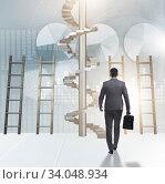 Купить «Career progression concept with ladders and staircase», фото № 34048934, снято 4 июля 2020 г. (c) Elnur / Фотобанк Лори