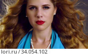 Купить «Slow motion flying hair and woman face with hypnosis look», видеоролик № 34054102, снято 29 декабря 2019 г. (c) Gennadiy Poznyakov / Фотобанк Лори