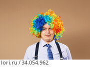Smiling businessman with large colorful wig. Стоковое фото, фотограф Nataliia Zhekova / Фотобанк Лори
