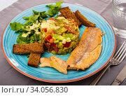 Купить «Trout fillets with guacamole salad», фото № 34056830, снято 11 июля 2020 г. (c) Яков Филимонов / Фотобанк Лори