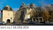 Port-de-France is the city gate at the entrance west of Grenoble in France (2017 год). Стоковое фото, фотограф Яков Филимонов / Фотобанк Лори