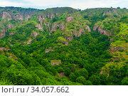 Купить «Panoramic view of the cave city Khndzoresk in the mountains of Armenia», фото № 34057662, снято 8 июня 2018 г. (c) Константин Лабунский / Фотобанк Лори
