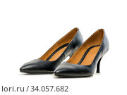 Black High Heel Shoes Isolated on White. Стоковое фото, фотограф Константин Лабунский / Фотобанк Лори