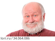 Handsome bald and bearded senior man shows surprised smile grimace or facial expression, isolated on white background. Стоковое фото, фотограф Zoonar.com/Serghei Starus / easy Fotostock / Фотобанк Лори