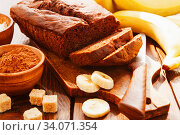 Chocolate cake with banana. Стоковое фото, фотограф Надежда Мишкова / Фотобанк Лори