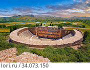 The Roman Theatre of Aspendos, Turkey. Built in 155 AD during the rule of Marcus Aurelius, Aspendos Theatre is the best preserved ancient theatre in Asia... Стоковое фото, фотограф Funkystock / age Fotostock / Фотобанк Лори