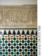 Arabesque Zellighe tiles with Mudjar plasterwork from tyhe vestibule of the Alcazar of Seville, Seville, Spain. Стоковое фото, фотограф Funkystock / age Fotostock / Фотобанк Лори