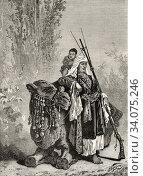 Купить «Turkmen woman with camel, traditional weapon and child. Turkmenistan Asia. Old 19th century engraved illustration, El Mundo Ilustrado 1880.», фото № 34075246, снято 25 мая 2020 г. (c) age Fotostock / Фотобанк Лори