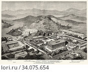 Artistic recreation landscape panoramic view of Olympia, at the time of the ancient Olympic Games. Ancient Greece. Old 19th century engraved illustration, El Mundo Ilustrado 1880. Стоковое фото, фотограф Jerónimo Alba / age Fotostock / Фотобанк Лори