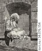 Jewish money changer at Cairo, Ancient Egypt. Old 19th century engraved illustration, El Mundo Ilustrado 1880. Стоковое фото, фотограф Jerónimo Alba / age Fotostock / Фотобанк Лори