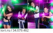 Купить «Young team playing laser tag game», фото № 34079482, снято 27 августа 2018 г. (c) Яков Филимонов / Фотобанк Лори