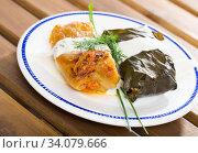 Dolma and cabbage roll with sour cream. Стоковое фото, фотограф Яков Филимонов / Фотобанк Лори