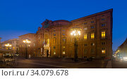 Palazzo Carignano building in evening time, Turin (2017 год). Стоковое фото, фотограф Яков Филимонов / Фотобанк Лори