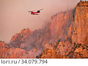 Lightning started fire on steep craggy terrain, with US Forest Service Fire suppression Wildland Firefighters using helicopters to 'bomb&#39... Стоковое фото, фотограф Jack Dykinga / Nature Picture Library / Фотобанк Лори