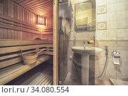 Sauna wooden heat room interior with light. Стоковое фото, фотограф Ольга Сапегина / Фотобанк Лори