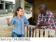 Купить «Woman having unpleasant talk with neighbour», фото № 34083662, снято 14 июля 2020 г. (c) Яков Филимонов / Фотобанк Лори
