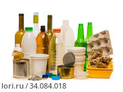 close up rubbish prepared for recycling isoalted on white background. Стоковое фото, фотограф Константин Лабунский / Фотобанк Лори