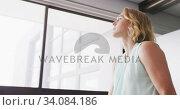 Купить «Professional businesswoman with hand on her chin looking out of a window from her modern office», видеоролик № 34084186, снято 18 января 2020 г. (c) Wavebreak Media / Фотобанк Лори