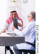 Купить «Young male arab visiting experienced male doctor», фото № 34087818, снято 16 августа 2019 г. (c) Elnur / Фотобанк Лори
