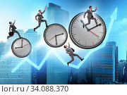Купить «Growth and recovery concept with businessman and clocks», фото № 34088370, снято 3 июля 2020 г. (c) Elnur / Фотобанк Лори