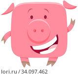 Cartoon Illustration of Cute Funny Pig or Piglet Farm Animal Character. Стоковое фото, фотограф Zoonar.com/Igor Zakowski / easy Fotostock / Фотобанк Лори