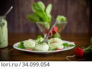 Купить «boiled stuffed eggs with green cheese filling with arugula leaves and radish», фото № 34099054, снято 10 апреля 2020 г. (c) Peredniankina / Фотобанк Лори
