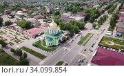 Aerial panoramic view of cityscape of Ozyory overlooking Orthodox Holy Trinity Cathedral, Russia. Стоковое видео, видеограф Яков Филимонов / Фотобанк Лори