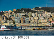 Old port of Genova and quay from sea view in Italy (2017 год). Стоковое фото, фотограф Яков Филимонов / Фотобанк Лори