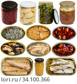 Купить «Assorted various canned goods with meat, vegetables and seafood on a white background», фото № 34100366, снято 1 июля 2020 г. (c) Яков Филимонов / Фотобанк Лори