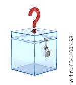 transparent voting box and question on white background. Isolated 3D illustration. Стоковая иллюстрация, иллюстратор Ильин Сергей / Фотобанк Лори